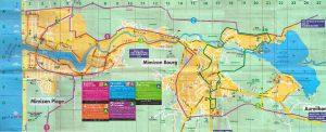 Plano de Mimizan con las 5 rutas para ir en bici o caminando