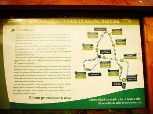 Cartel de la Ruta de La Palombiere, en Vieux Boucau