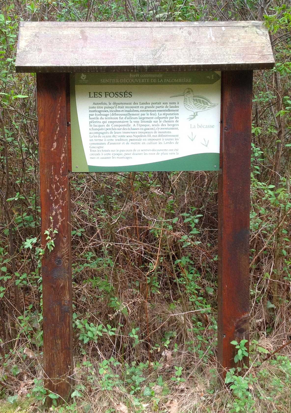 Cartel informativo en la ruta de La Palombiere, en Vieux Boucau