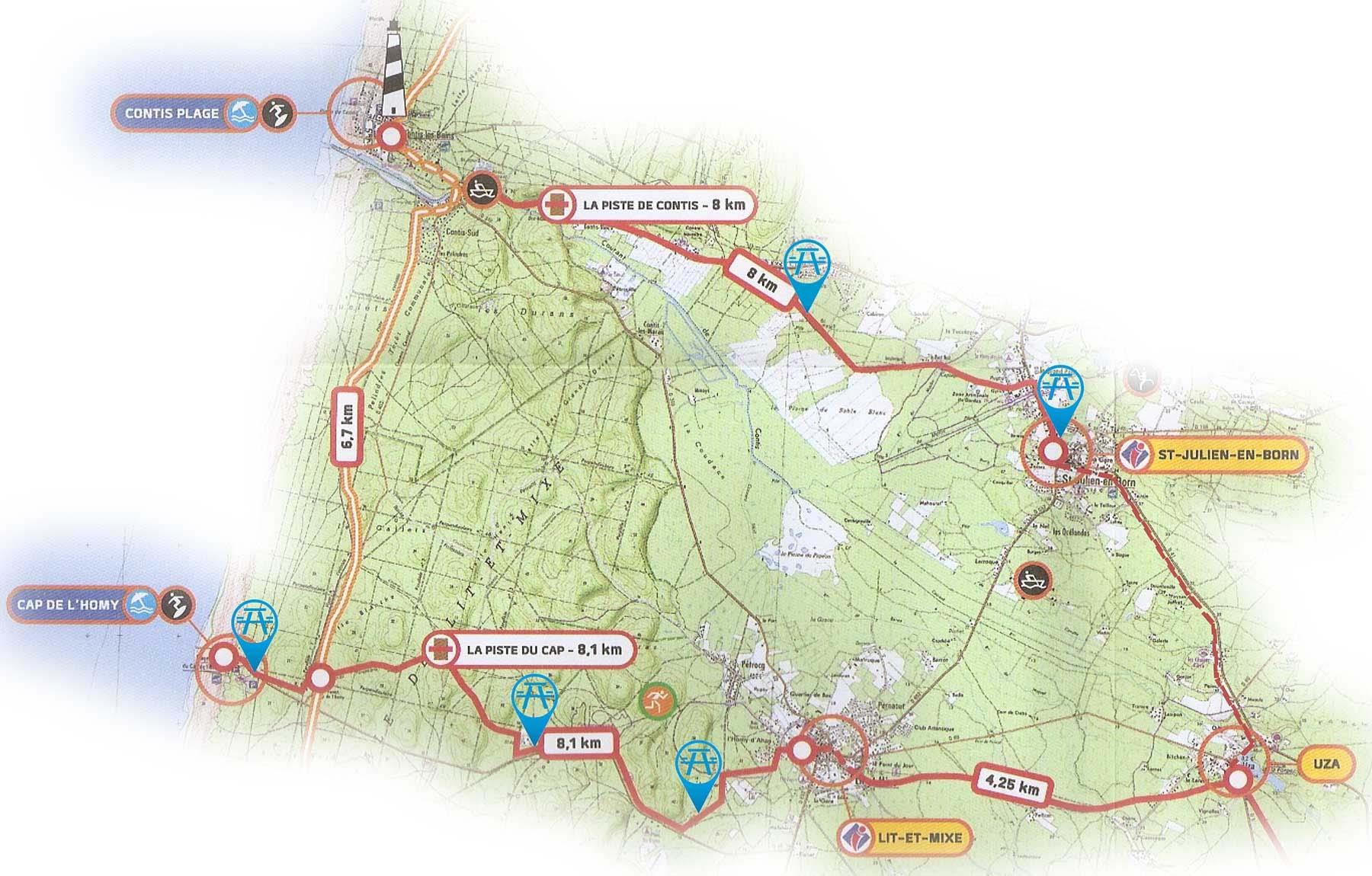 Ruta circular en bici por Lit-et-Mixe, Contis Plage y Uza